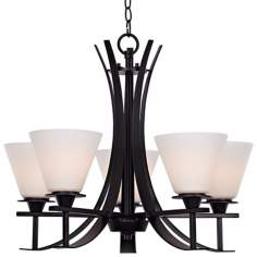 "Bravura Black with Opal Glass 22 3/4"" Wide Chandelier"