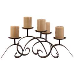 Wrought Iron Scrolls Candle Holder