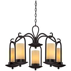 "Onyx Faux Stone Candle 30"" Wide Espresso Outdoor Chandelier"