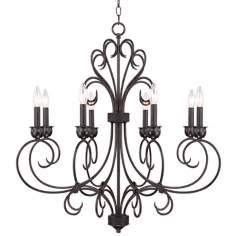 8-Light Black Iron Chandelier