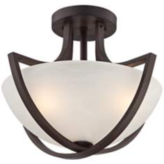 "Transitional Bronze Finish 18 1/2"" Wide Ceiling Fixture"