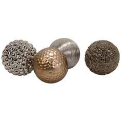 Set of 4 Metallic Ceramic Orbs