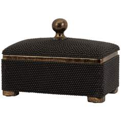 Antiqued Bronze Black Caviar Box