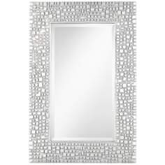 "Textured Relief 36"" High Silver Wall Mirror"