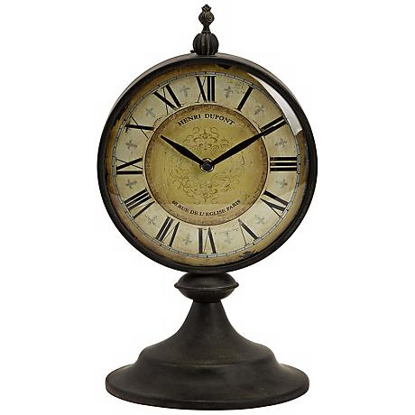 Antique Round Metal Christopher Tabletop Clock