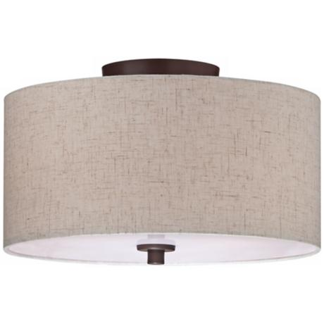 "Bronze with Off White Shade14"" Wide Ceiling Light Fixture"