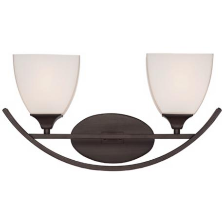 "Arch Bronze with White Glass 2-Light 18"" Wide Bath Light"