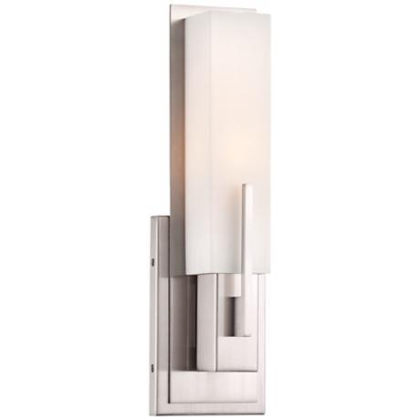 "Possini Euro Midtown 14"" High Satin Nickel Wall Sconce"
