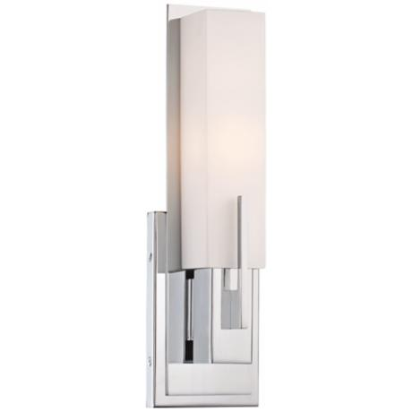 "Possini Euro Midtown 14"" High White Glass Chrome Wall Sconce"