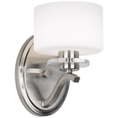 "Brushed Nickel and Opal Glass 8 1/2"" High Wall Sconce"