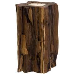 Large Natural Teakwood Stump Candle