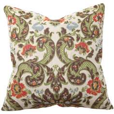 "Multi Print Grand Floral 22"" Wide Throw Pillow"
