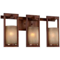 "Bronze-Copper Scavo Glass 22"" Wide Bath Fixture"