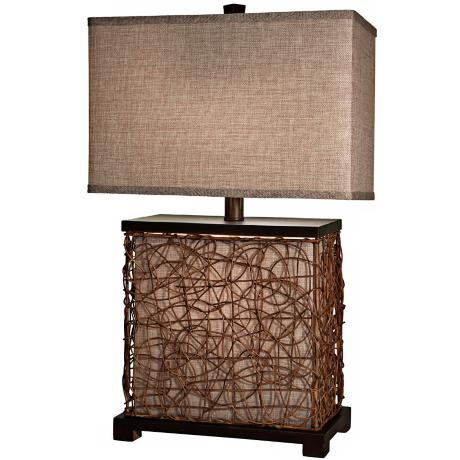 "Freeport Wood-Rattan With Nightlight 30 1/2"" High Table Lamp"