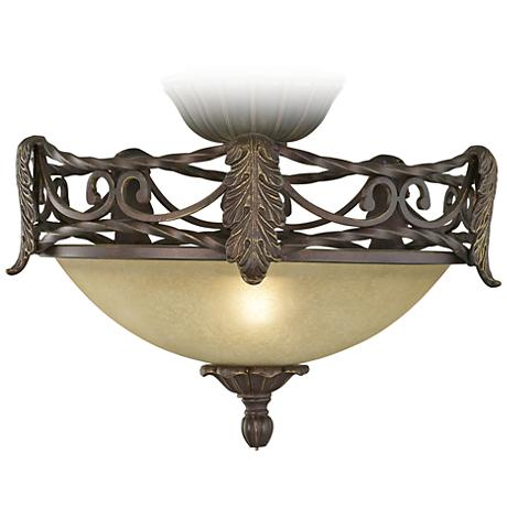 Acanthus Leaf Scavo Glass Pull-Chain Ceiling Fan Light Kit