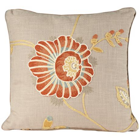 "Bella Collection 18"" Square Embroidered Decorative Pillow"