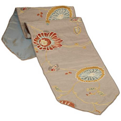 Bella Collection Fabric Floral Embroidered Table Runner
