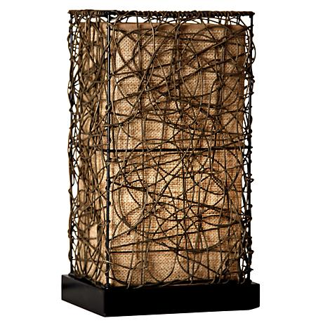 "Burlap and Rattan 14"" High Accent Lamp"