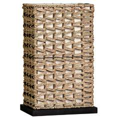 "Woven Rattan 14"" High Accent Lamp"