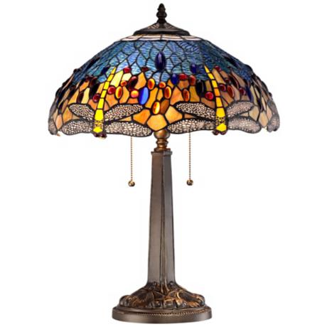 Tiffany Style Blue-Green Dragonfly Bronze Table Lamp
