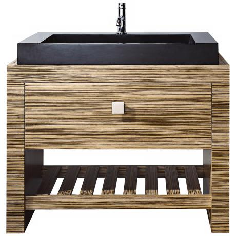 "Knox Zebra Wood Black Granite 39"" Wide Sink Bath Vanity"