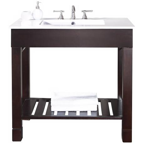 "Loft Dark Walnut 37"" Wide Bath Sink Vanity"