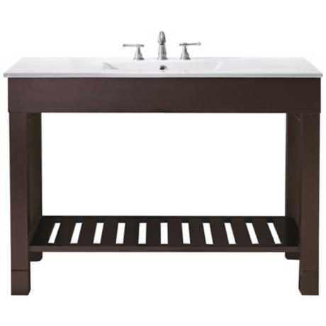 "Loft Dark Walnut 49"" Wide Bath Sink Vanity"