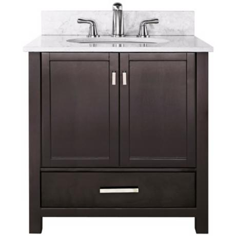 "Modero White Marble Top 37"" Wide Sink Bath Vanity"