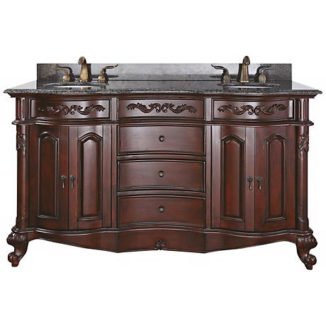 "Provence 2-Sink Imperial Granite Top 61"" Wide Bath Vanity"
