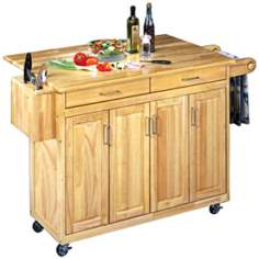 Natural Finish Wood Top Kitchen Cart with Breakfast Bar
