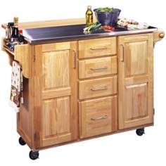 Stainless Steel Top Wood Drop Leaf Kitchen Cart