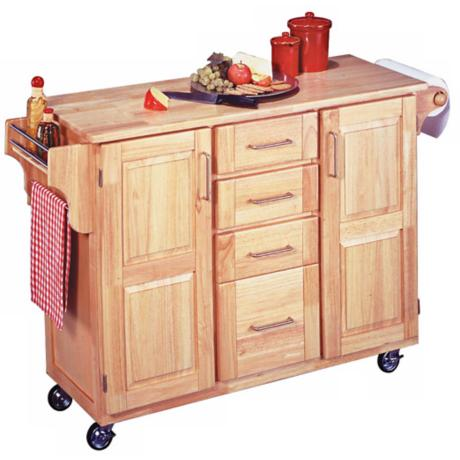 Natural Wood Kitchen Cart with Drop Leaf Breakfast Bar