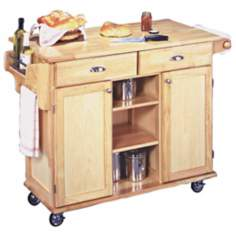 Napa Solid Wood Natural Finish Rolling Kitchen Center