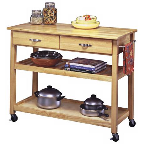 Natural Finish Solid Wood Slotted Shelf Kitchen Cart