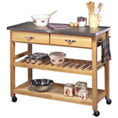 Stainless Steel Top Natural Wood Kitchen Cart Work Center