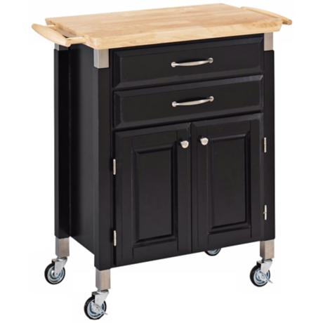 Dolly Madison Black Prep and Serve Kitchen Cart