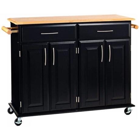 Dolly Madison Black Kitchen Island Cart