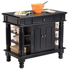 Americana Ebony Finish Hardwood Kitchen Island
