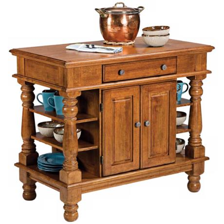 Americana Cottage Oak Finish Wood Kitchen Island