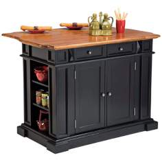 Ebony and Oak Finish Breakfast Bar Kitchen Island