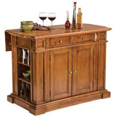 Cottage Oak Hardwood Breakfast Bar Kitchen Island