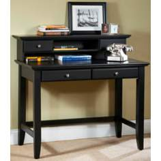 Bedford Black Student Desk with Hutch