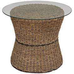 Cabana Banana Honey Oak Round Glass Top Accent Table