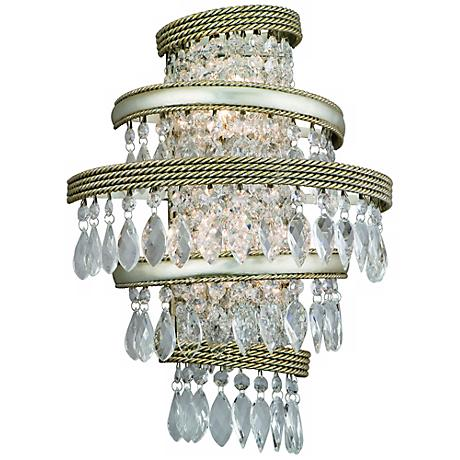 "Diva Silver Gold and Crystal 16"" Wide Corbett Wall Sconce"