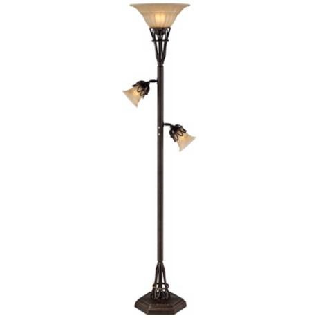 Bronze Scrollwork 3-in-1™ Torchiere Floor Lamp