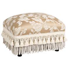 Heirloom Cream Floral and Tassels Ottoman