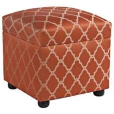 Alamosa Brick Red Storage Cube Ottoman