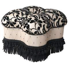 Yorke Black and White Fringe Ottoman