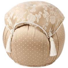 Heirloom Taupe Floral and Polka Dot Ottoman