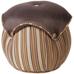 Valenciaga Round Striped Button Ottoman